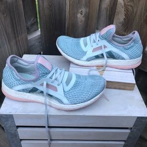 Adidas PureBoost X light blue & pink running shoe